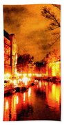 Amsterdam Night Life L A S Bath Towel