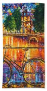 Amsterdam - The Bridge Of Bicycles  Hand Towel