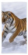 Amur Tiger Running In Snow Bath Towel by Rikk Flohr