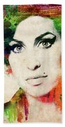 Amy Winehouse Colorful Portrait Bath Towel