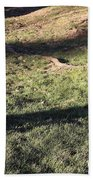 An Arlington Grave With Flowers And Shadows Bath Towel