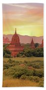 Ancient Pagodas In The Countryside From Bagan In Myanmar At Suns Bath Towel
