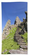 Ancient Steps Leading To Celtic Monastery, Skellig Michael, County Kerry, Ireland Bath Towel