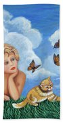 Angel And Kittens Hand Towel