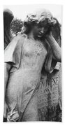 Angel On The Ground At Cavalry Cemetery, Nyc, Ny Bath Towel