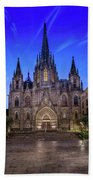 Angels Flying In Front Of The Cathedral Of The Holy Cross And Sa Bath Towel