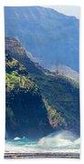 Angry Sea, Na Pali Coast Bath Towel