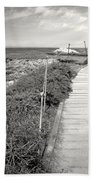 Another Asilomar Beach Boardwalk Black And White Bath Towel
