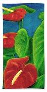 Anthurium Flowers #296 Bath Towel