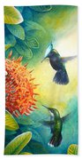 Antillean Crested Hummingbirds And Ixora Bath Towel