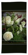 Antique Floral Arrangement Framed Bath Towel