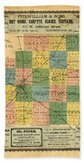 Antique Map Of The Mclean County - Business Advertisements - Historical Map Bath Towel