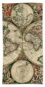 Antique Map Of The World - 1689 Bath Towel