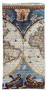 Antique Maps Of The World Joan Blaeu C 1662 Bath Towel