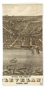 Antique Maps - Old Cartographic Maps - Antique Birds Eye View Map Of Cleveland, Ohio, 1877 Bath Towel