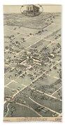 Antique Maps - Old Cartographic Maps - Antique Birds Eye View Map Of Denton, Texas, 1883 Bath Towel