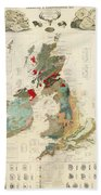 Antique Maps - Old Cartographic Maps - Antique Geological Map Of The British Islands Bath Towel