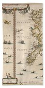Antique Maps - Old Cartographic Maps - Antique Map Of Schetland And Orkney Islands - Scotland,1654 Bath Towel