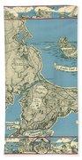 Antique Maps - Old Cartographic Maps - Antique Map Of Cape Cod, Massachusetts, 1945 Bath Towel
