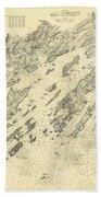 Antique Maps - Old Cartographic Maps - Antique Map Of Casco Bay, Maine, 1870 Bath Towel