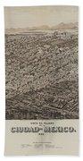 Antique Maps - Old Cartographic Maps - Antique Map Of Ciudad, Mexico, 1890 Bath Towel
