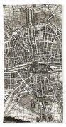 Antique Maps - Old Cartographic Maps - Antique Map Of Paris, France, 1643 Bath Towel