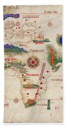Antique Maps - Old Cartographic Maps - Antique Map Of The World, 1502 Bath Towel