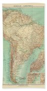 Antique Maps - Old Cartographic Maps - Antique Russian Map Of South America Bath Towel