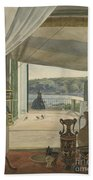 Antiquities By A Balcony Overlooking The Gulf Of Naples Bath Towel