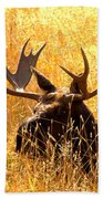 Antlers In The Golden Grass Bath Towel