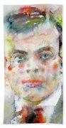 Antoine De Saint-exupery - Watercolor Portrait.2 Bath Towel