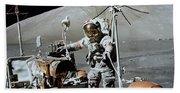 Apollo 17 Astronaut Approaches Bath Towel