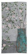 Apple Blossoms In Turquoise Vase Bath Towel