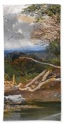 Approaching Storm In A Wooded Landscape Bath Towel