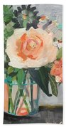 Apricot Rose Bath Towel