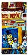 Arachides Depot Candy Shop Painting Rue De L'eglise Verdun Montreal Hockey Art Carole Spandau        Hand Towel