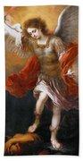Archangel Michael Hurls The Devil Into The Abyss Bath Towel