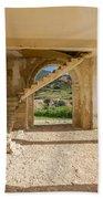 Arches, Entrance And Stairs Of Derelict Agios Georgios Church Bath Towel