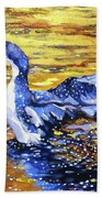 Arctic Loon On Golden Pond Hand Towel