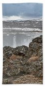 Area By Godafoss Waterfalls, Iceland Bath Towel