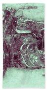 Ariel Square Four 3 - 1931 - Vintage Motorcycle Poster - Automotive Art Bath Towel