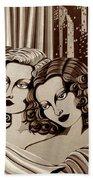 Arielle And Gabrielle In Sepia Tone Bath Sheet