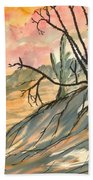 Arizona Evening Southwestern Landscape Painting Poster Print  Bath Towel