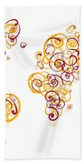 Arizona State University Colors Swirl Map Of The World Atlas Bath Towel