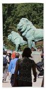 Art Institute Of Chicago Bronze Lions Bath Towel