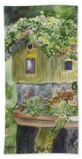Artful Birdhouse Bath Towel
