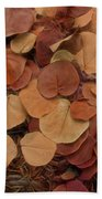Artfully Scattered Sea Grape Leaves Bath Towel