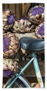 Artichoke Flowers With Bicycle Hand Towel