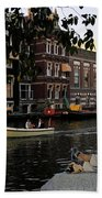 Artist On Amsterdam Canal Bath Towel