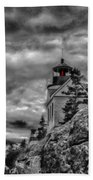 Artistic Bass Harbor Lighthouse In Acadia Bath Towel